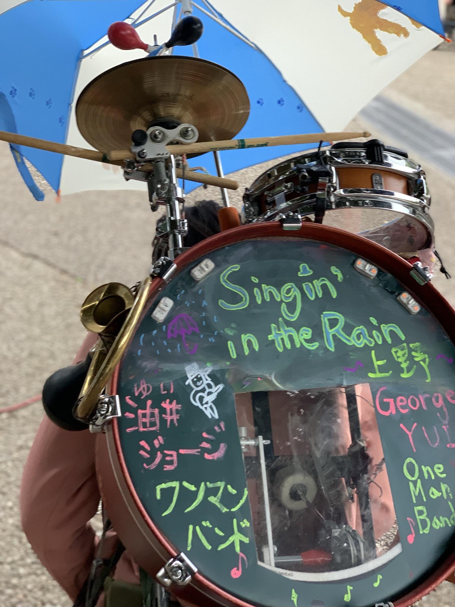 上野公園でお試しの傘ありパフォーマンス
